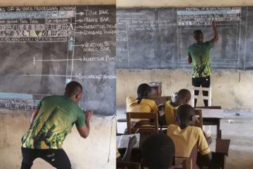 沒錢買電腦,非洲教師「手繪word」教學,微軟公司看到,送上電腦贊助學校!